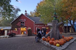 Vala's Harvest Barn with pumpkins in front